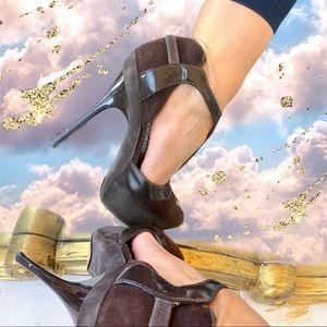L.A.M.B. brown peep toe stilettos
